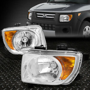 For 2003 2008 Honda Element Pair Chrome Housing Amber Corner Headlight lamp Set