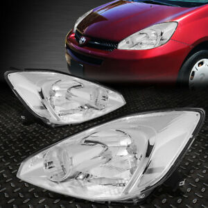 For 04 05 Toyota Sienna Chrome Housing Clear Corner Headlight Replacement Lamps