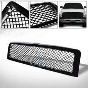 Fits 94 01 02 Dodge Ram Glossy Blk Mesh Front Hood Bumper Grill Grille Guard Abs