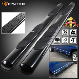 For 2000 2014 Chevy Tahoe Gmc Yukon 4dr 4 Oval Black Side Step Bars Pair