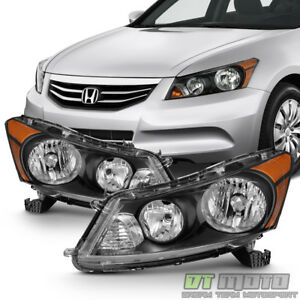 For Black 2008 2012 Honda Accord 4 Door Sedan Headlights Headlamps Left Right