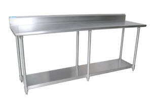 Bk Resources 96 w X 30 d 16 Gauge Stainless Steel Work Table W 5 Riser