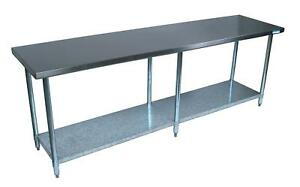 Bk Resources Ctt 9630 96 w X 30 d 16 Gauge Stainless Steel Work Table