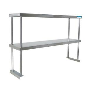 Bk Resources 96 X 12 X 31 Stainless Steel Table Mount Double Overshelf