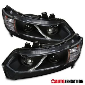 For 2006 2011 Honda Civic 2dr Coupe Black Projector Headlights Led Head Lamps