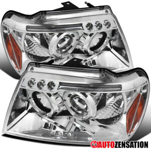 For 1999 2004 Jeep Grand Cherokee Clear Led Halo Rims Projector Headlights Lamps