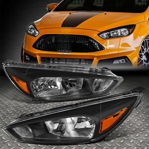 For 15 18 Ford Focus Black Housing Amber Corner Headlight Replacement Head Lamp