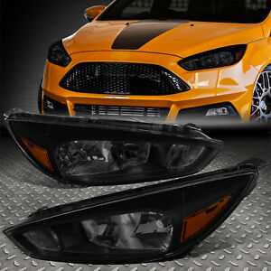 For 2015 2018 Ford Focus Gen3 Pair Smoked Tint Amber Side Headlight Lamp Set