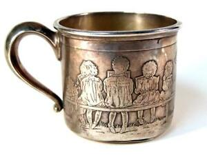 Antique Meriden Britannia Sterling Silver Childs Baby Cup With Figural Children