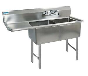 Bk Resources 59 x23 5 Two Compartment 16 Gauge Stainless Steel Sink
