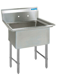 Bk Resources 24 x24 x14 One Compartment 16 Gauge Stainless Steel Sink
