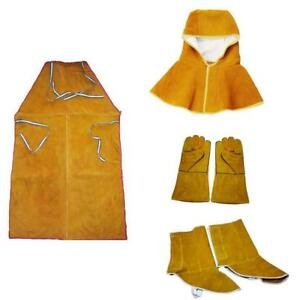 Welder Apron Hood Gloves Shoes Cover Cowhide Leather Flame Resistant Orange