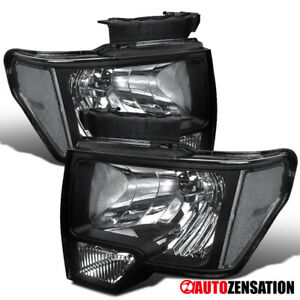 For 2009 2014 Ford F150 Black Clear Lens Headlights Head Lamps Left Right Pa