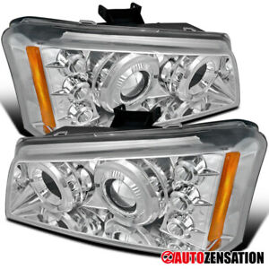 For 2002 2006 Chevy Avalanche Silverado Clear Led Drl Halo Projector Headlights