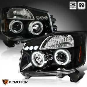 For 2004 2015 Nissan Titan 2004 2007 Armada Jet Black Halo Projector Headlights