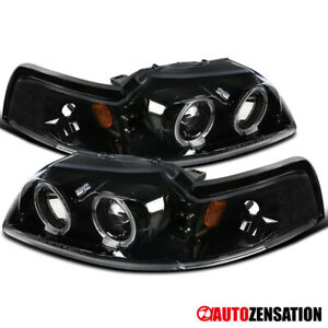 For 1999 2004 Ford Mustang Slick Black Clear Led Halo Rims Projector Headlights