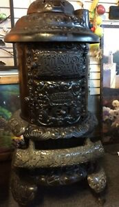 Antique Iron Wood Stove Pd Beckwith Round Oak Ornate E16 1800s Victorian Parlor