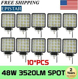 10x 48w Square Led Work Light Flood Offroad Truck Tractor Boat 3d Optical 12v24v