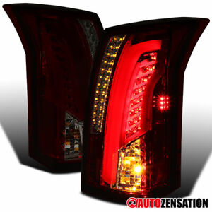 For 2003 2007 Cadillac Cts Red smoke Tail Lights Led Drl Tube Signal Brake Lamps