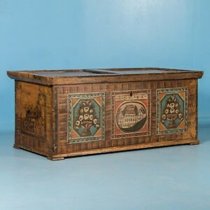 Antique 19th Century Trunk From Austria With Original Paint
