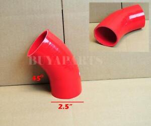 2 5 63mm 45 Degree Turbo intake intercooler 3 ply Silicone Coupler Hose Red