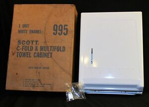 Nos Scott C fold Multifold White Metal Paper Towel Holder Cabinet Key