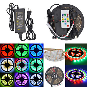 5m 5050 Ws2812b Rgb 5v 150leds Strip Light Waterproof 14key Remote power Supply