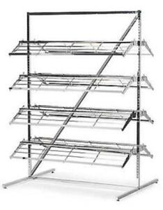 Floor Shoe Merchandiser Display Rack 8 Shelf 60 80 Pair Shoes chrome
