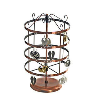 Counter Earring Rotating Round Display Rack 96 Pairs copper Color