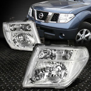 For 05 08 Nissan Frontier Pathfinder Chrome Housing Clear Corner Headlight Lamps
