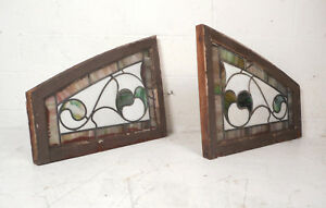 Pair Of Vintage Antique Stained Glass Windows 8605 Nj