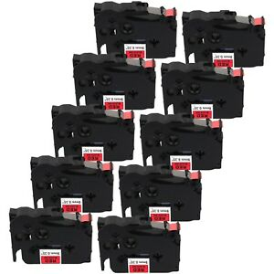 10 pack Compatible Tz 421 Tze 421 Black On Red Label Tape For Brother P touch