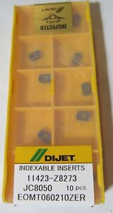10 pack Dijet Eomt060210zer Jc8050 Qm Mini Modular High Feed Milling Inserts