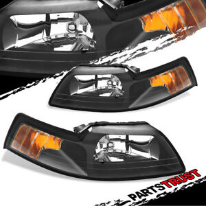 1999 2004 Ford Mustang Black Jdm Style Headlights Lamps Pair 2000 2001 2002 2003