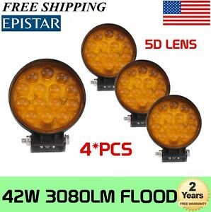 4pcs 42w Round Led Work Light Flood Fog Lamp Yellow Jeep Offroad Boat 5d Optical