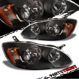 For 2003 2008 Toyota Corolla Factory Style Black Headlights Set 2004 2005 2006