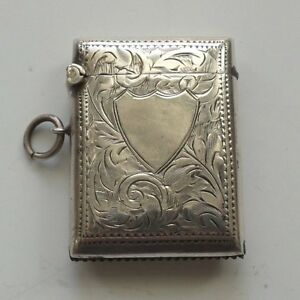 English Sterling Silver Match Safe Vesta Case C 1914 No Monogram 25 Grams
