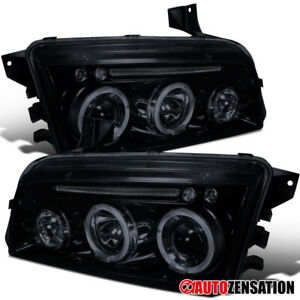 For 2006 2010 Dodge Charger Glossy Black Smoke Halo Projector Headlights Lamps