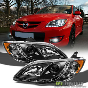 Blk 2004 2008 Mazda 3 Sedan 4dr Projector Headlights W Running Lamps Left right