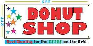 Donut Shop W Multi Colored Stars Banner Sign New Larger Size