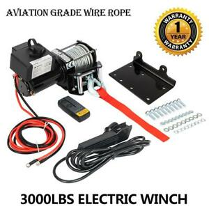 Electric Winch Towing Truck Trailer Steel Cable Off Road High Qualit 3000lbs
