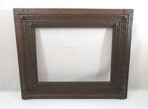 Antique Tramp Art Mission Arts And Crafts Movement Wood Oil Painting Frame 14 19