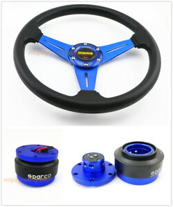 350mm Universal Blk 6 Bolt Racing Steering Wheel Quick Release Horn Button