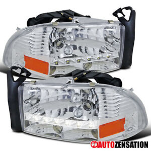 For Dodge 1997 2004 Dakota 1998 2003 Durango Smd Led Drl Clear Headlights Lamps