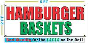 Hamburger Baskets Banner Sign New Larger Size Best Quality For The Fair Food