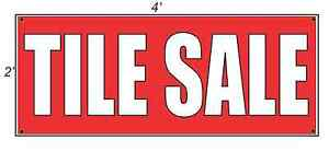 2x4 Tile Sale Red With White Copy Banner Sign New