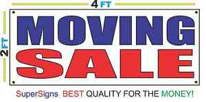 2x4 Moving Sale Banner Sign Red White Blue New Discount Size Price