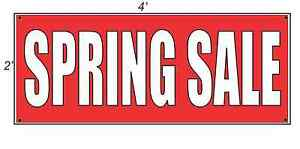 2x4 Spring Sale Red With White Copy Banner Sign New