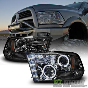 Smoked 2009 2018 Dodge Ram 1500 2500 3500 Halo Led Projector Headlights Headlamp