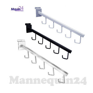 Slatwall 5 j hook Waterfall Faceout Arm Black White Or Chrome